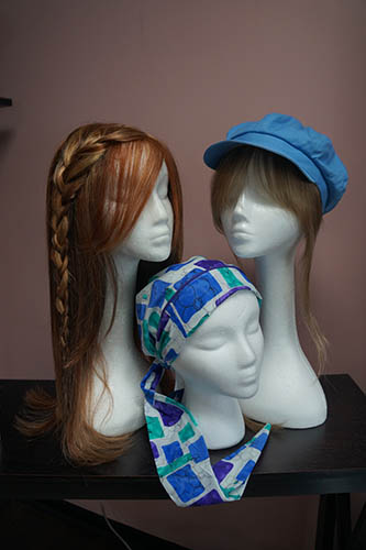 blue hat, blue turban red long wig