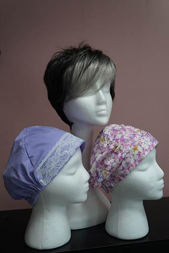grey wig turban pink