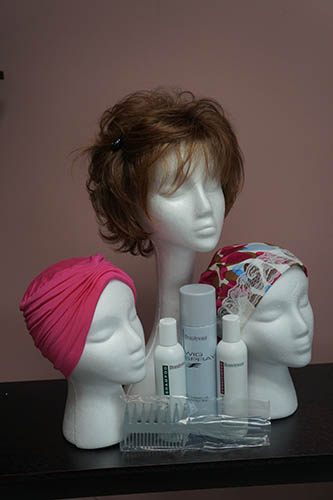 pink and pattern turban and one wig